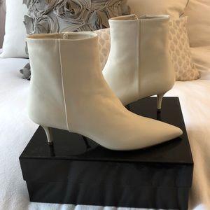 Theory White Kitten-heel Bootie
